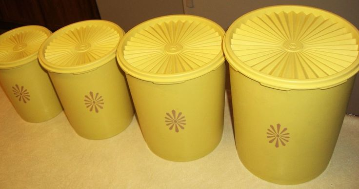 Vintage Tupperware Canister Set of 4 - Yellow