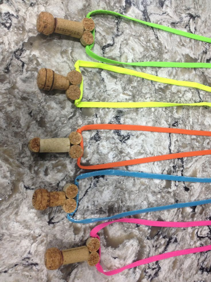 DYI- wine cork penis necklaces for winery bachelorette party!  Neon theme (used shoelaces so girls could tie necklaces at desired length)