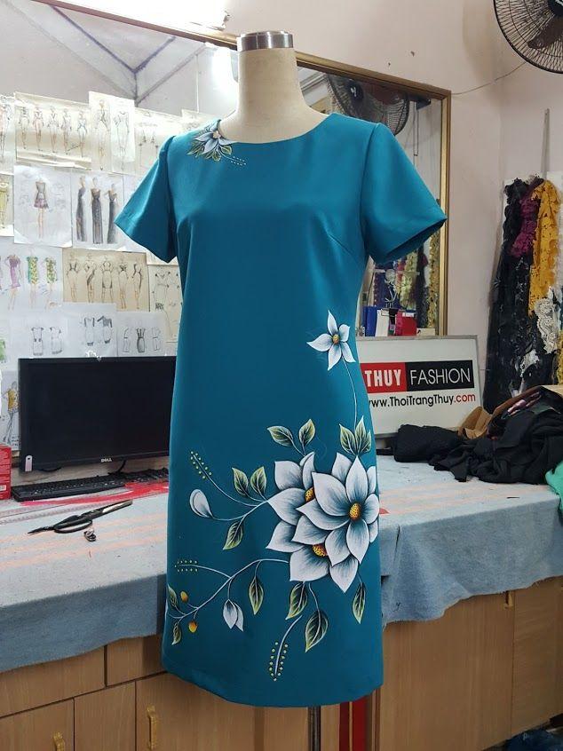 Váy vẽ tay thủ công họa tiết hoa V377 thời trang thủy