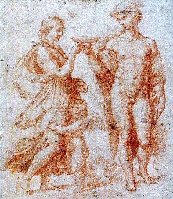 Raphael Sanzio,  Mercurio ofreciendo la copa de la inmortalidad a Psique, 1510.