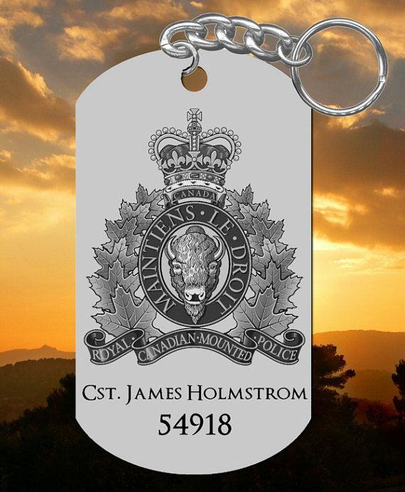 Personalized RCMP Keychain This personalized key chain is laser-engraved for you for free. Our stainless steel dog tag key chains are buffed
