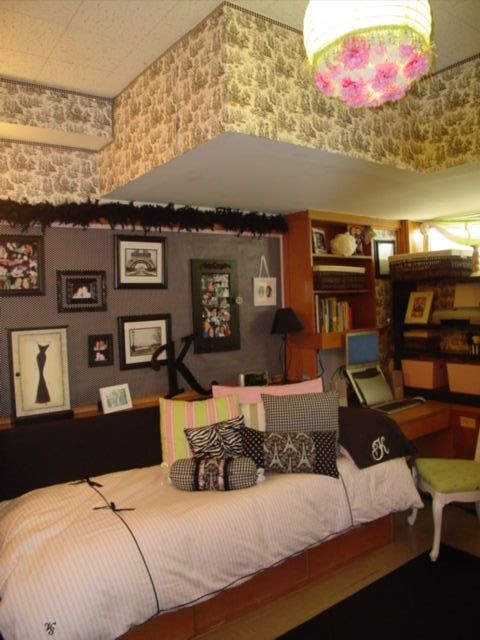 """✓ Inspiration: Dorm room --- All the """"wallpaper"""" is actually wrapping paper! The two roommates won best dorm on campus at Texas Tech University that year."""