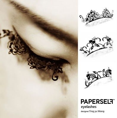 This may be taking your love of lace too far..... Paperleaf Eyelashes.