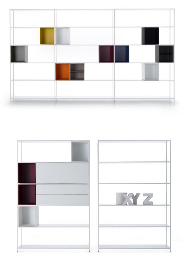 Open aluminium #bookcase MINIMA 3.0 by MDF Italia | #design B. Fattorini & Partners #books #furniture