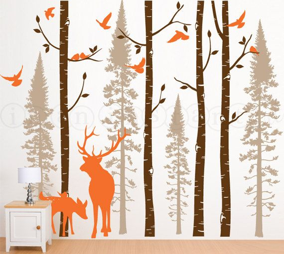Birch Tree Wall Decal | Forest Trees with Deer and Birds | Nursery,  Childrenu0027s Room, Living Space Interior Design