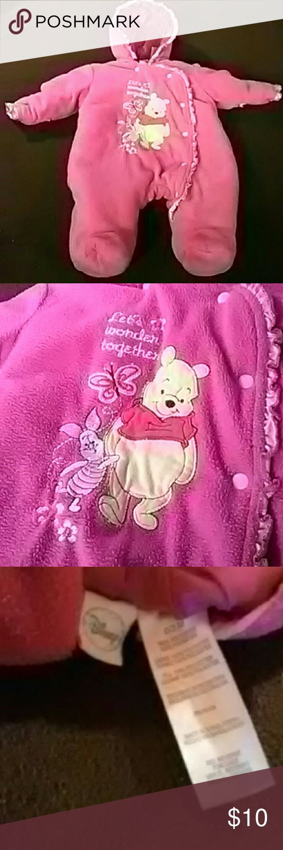 Winnie the Pooh bodysuit This is super cute and warm. The hands fold into finger covers and it has feet to keep toesies warm. Worn and well loved, but in great condition. Disney One Pieces Bodysuits