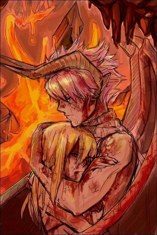 Natsu, crying, Lucy, sad, blood, fire, dragon form, Dragon ...