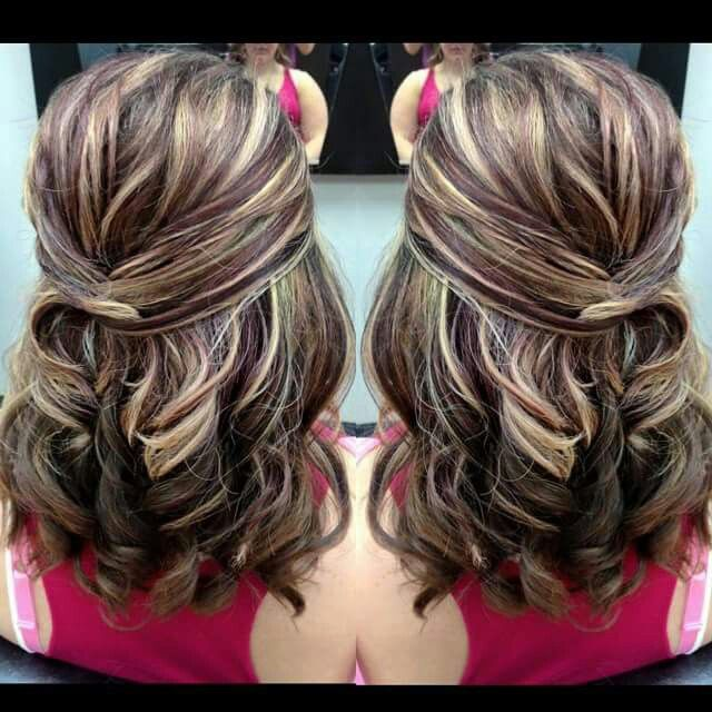 Baby shower hairstyle half up on medium  hair with gorgeous blonde and violet (purple) high and low lights with a level 5 brown underneath