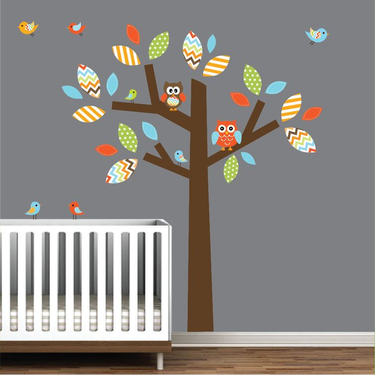 Children Wall Decal Wall Sticker Kids Decal - Chevron Pattern Tree with Owls and Birds -Kids Wall Decals. $89.00, via Etsy.