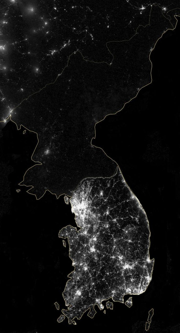 Satellite picture contrasting North and South Korea at night