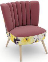 Max Winzer ® build-a-chair Stuhlsessel »Aspen« im Retrolook, zum Selbstgestalten, rosa, Füße: Buche natur, Korpus: Microvelours Blüte gelb