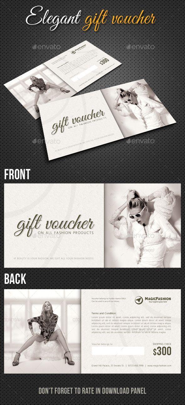 Elegant Gift Voucher Template PSD | #giftvoucher #vouchertemplate #voucher | Download: http://graphicriver.net/item/elegant-gift-voucher-v01/10410966?ref=ksioks
