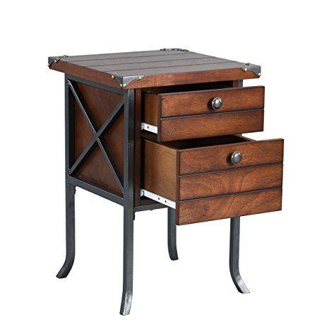 viseeko rústico madera y metal al lado de la mesa con 2cajones mesilla de noche para dormitorio home living room, Color marrón oscuro