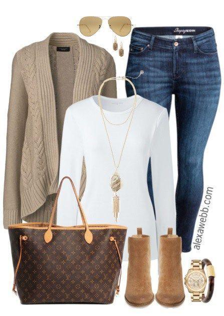 Plus Size Sand Cardigan Outfit - Plus Size Fashion for Women - http://alexawebb.com