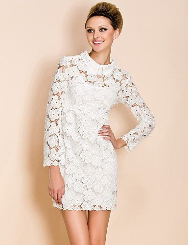 White Lace High Waisted Dress