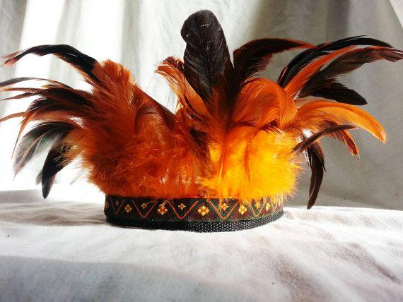 Handgemaakte veren hoofdtooi oranje Boho Gypsy door fangornfeathers