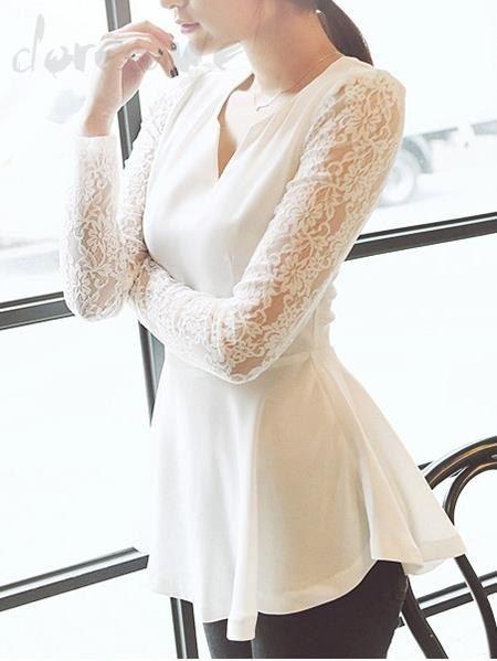 ファッションレディースファッション 白いレースTシャツ長袖透かし彫りスリーブは格安とか人気のものなどいろいろな種類があり、ここで。一番のサービスと最高品質の商品Doresuweで提供しています。