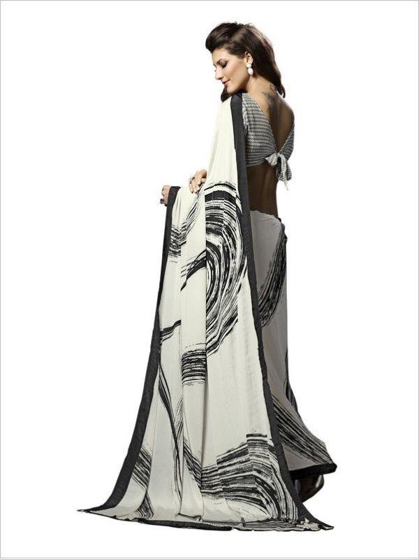 Black/White Party Wear Crepe Saree