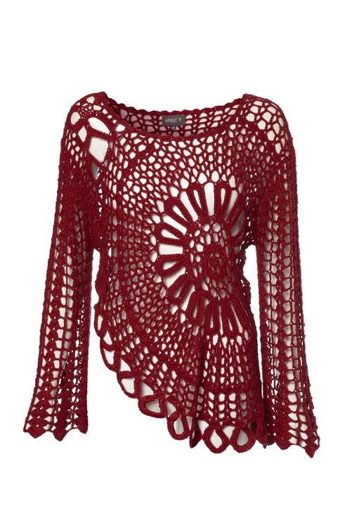 Crochet Bell Sleeve Top.Crochet Ideas, Fashion, Tops 33, Belle Sleeve Tops, Red Crochet, Crochet Belle, Crochet Clothing, Crafts, Knits