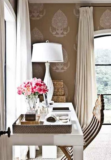 girl's rooms - milk chocolate brown wallpaper white lamp stacked woven storage baskets antique wood chair  Fantastic girls work space with glossy