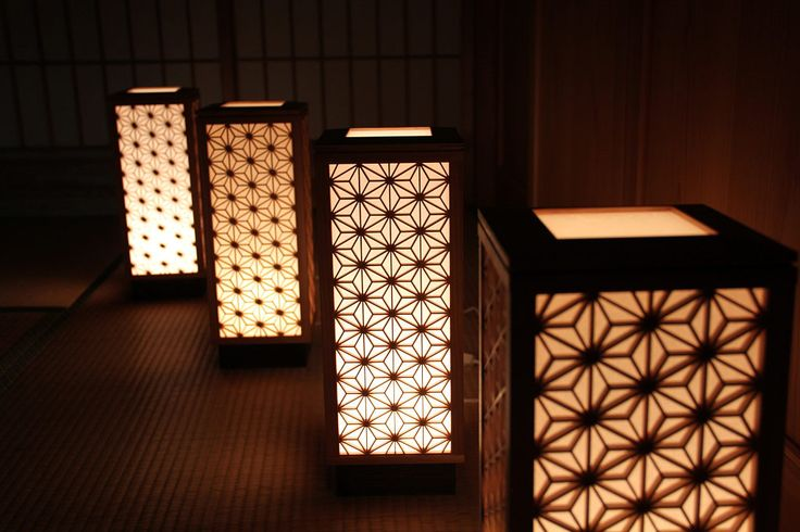 Kumiko-zaiku lamps by Yoshihara Woodworks