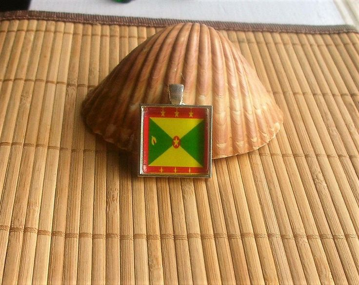 Grenada Flag Glass Tile Pendant and / or for a key ring by DingolayFusedGlass on Etsy