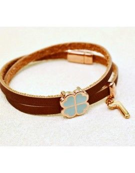 Βραχιόλι Lucky Charm Chocolate Leather Wishes
