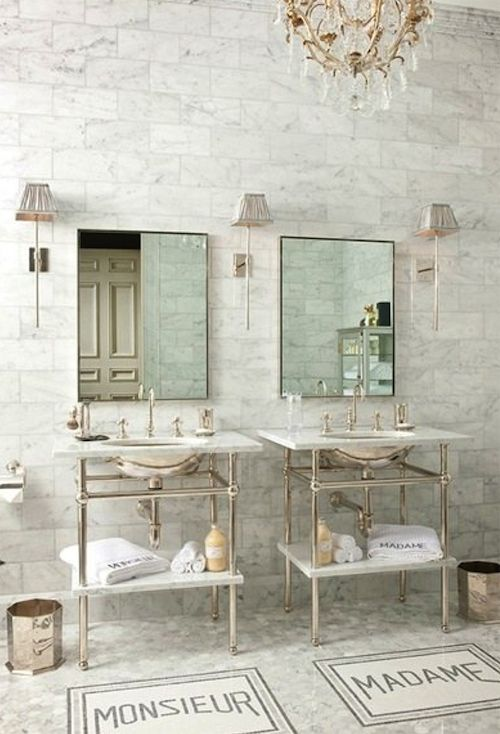 Planning our DIY bath remodel— inspiration and design ideas… love the marble subway tile to the ceiling..