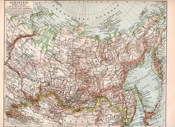 1895 Siberia Map Russian Empire Chinese Empire by Craftissimo, €14.00