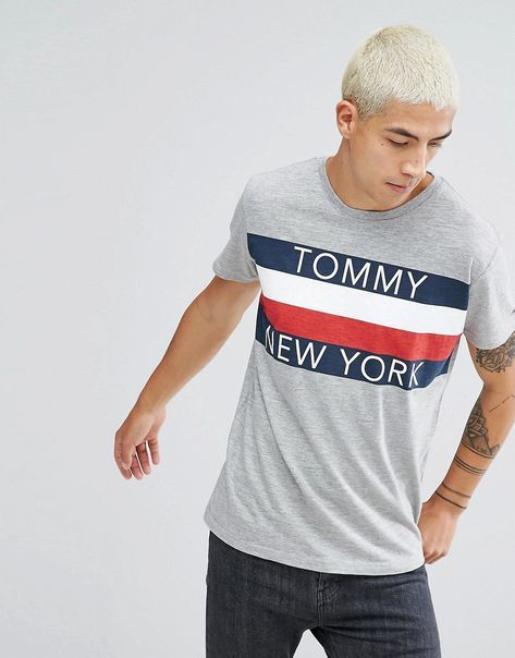 7be8290c TOMMY JEANS TOMMY HILFIGER DENIM T-SHIRT ICON NEW YORK STRIPE IN GRAY MARL  - GRAY. #tommyjeans #cloth #