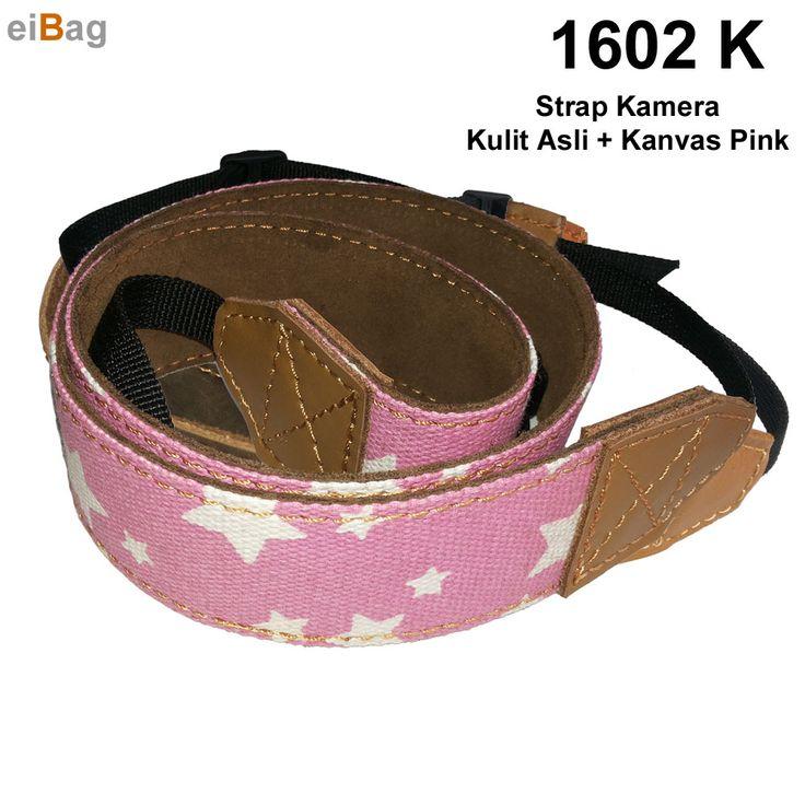 Strap kamera motif warna pink bahan kanvas dan kulit asli merupakan warna pilihan lainnya tali kamera dslr untuk fotografer wanita harga murah Rp 95.000