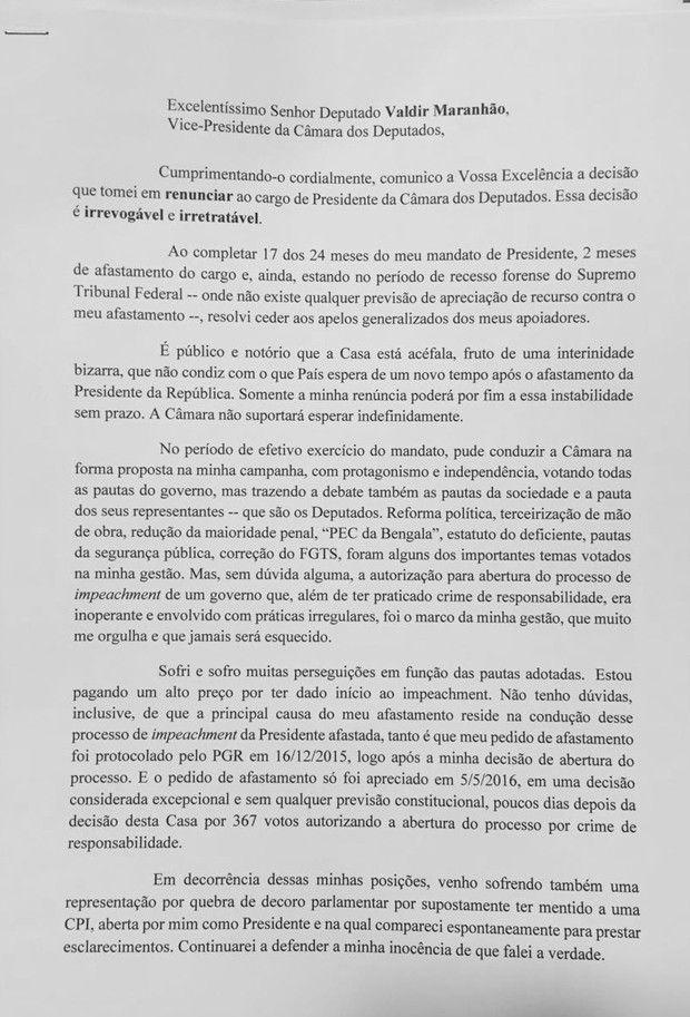 O EMPENHO: Deputado Eduardo Cunha renuncia à presidência da C...