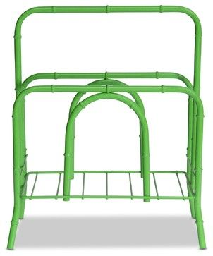 Faux Bamboo Magazine Rack, Lime tropical-magazine-racks