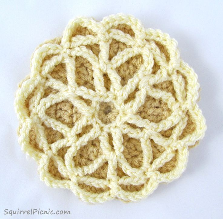 Pizzelle Free Crochet Pattern from Squirrel Picnic....I know it's a cookie;but it looks like a flower to me!