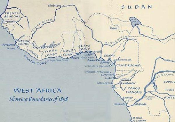 """De routes van Mary Kingsley: """"You have no right to go about Africa in things you would be ashamed to be seen at home"""" schreef Mary Kingsley in haar boek Travels in West Africa (1897). Daarom trok zij door de Afrikaanse jungle in Victoriaanse jurken. En dat deed ze vaak alleen. Waar de meeste mannen in haar tijd zich met groot gevolg door de rimboe baanden, deed zij dat meestal in haar eentje. http://www.passionatenomads.nl/reisportretten/mary-kingsley/"""
