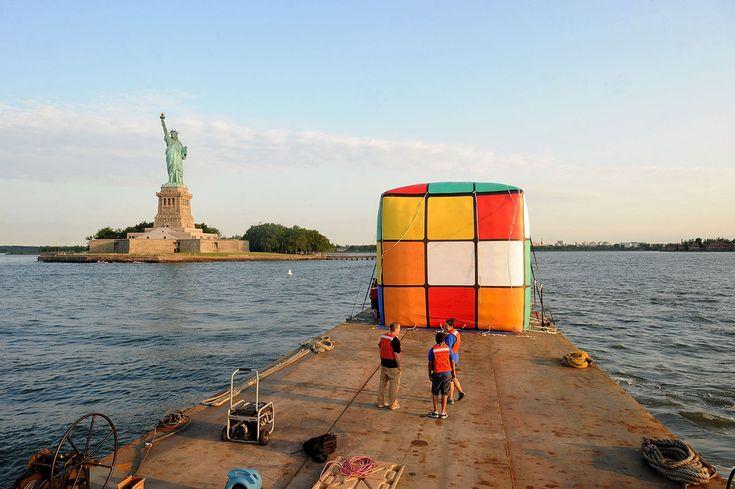 Giant Rubik's Cube Floats Down the Hudson River