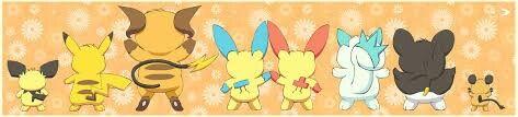 Pichu, Pikachu, Raichu, Minun, Plusle, Pachirisu, Emolga and Dedenne ' back