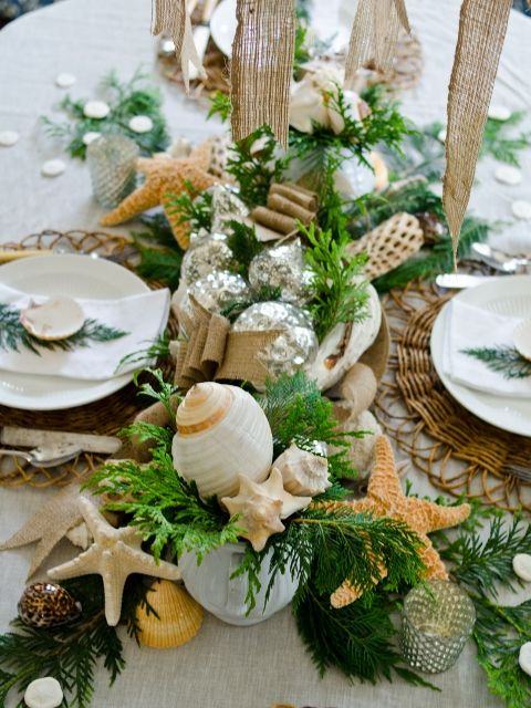 You'd never think evergreens go with starfish and shells...but it totally works for a tropical Christmas wedding!