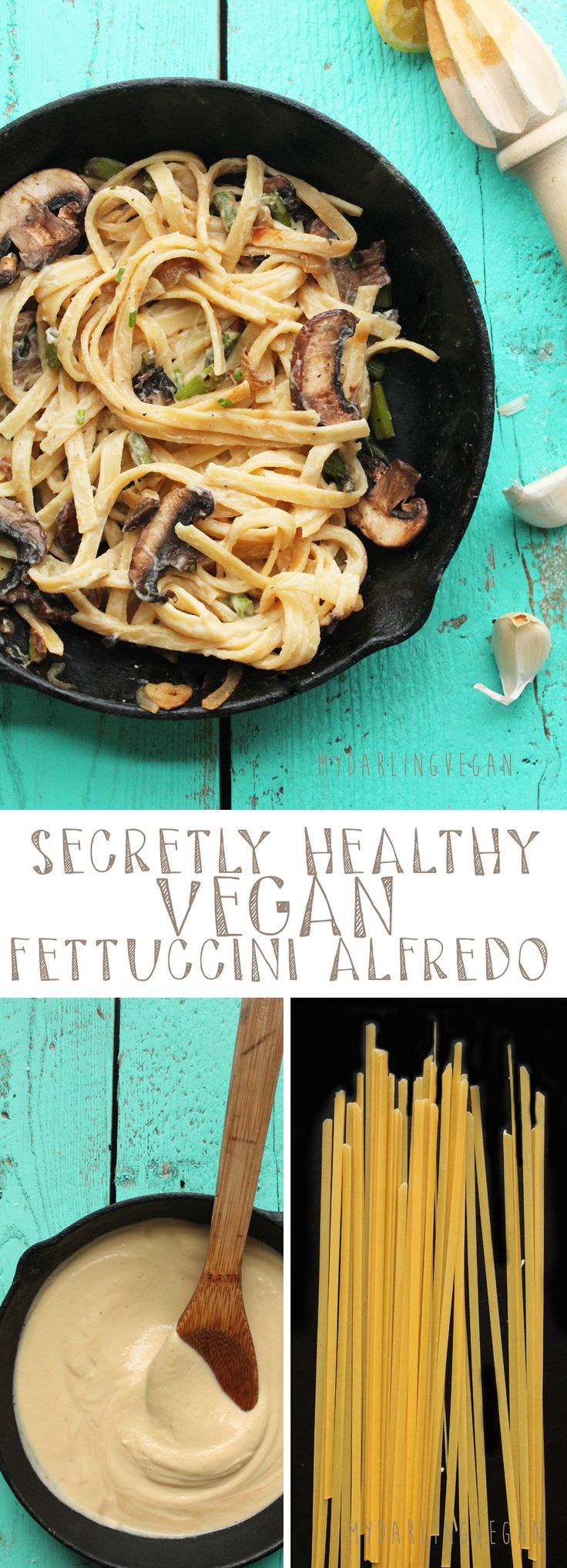 You won't believe that this rich and creamy  Alfredo sauce is actually healthy and 100% vegan. Click the photo to find out the secret ingredient that makes this sauce perfect for the whole family!