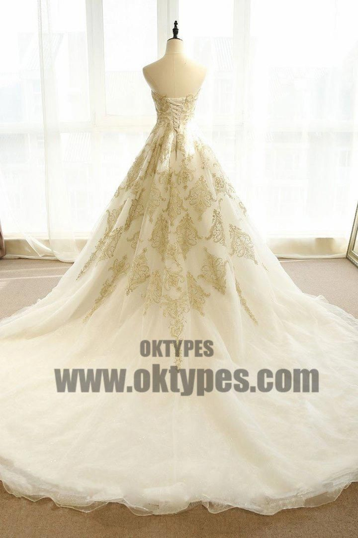 Chic Wedding Dresses Ivory Gold Appliques Sweep Brush Train Bridal Gown Typ0682 Summer Wedding Dress Chic Wedding Dresses Wedding Dresses