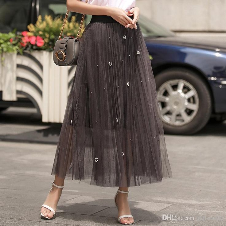 2017 Boho Skirts Women Clothing High Quality Soft Tulle with Floral Beads Elastic Waist Long Skirts Black,Gray,Dark Green Cheap Skirts Long Skirts Floral Skirt Online with $39.0/Piece on Dqlstudio's Store   DHgate.com