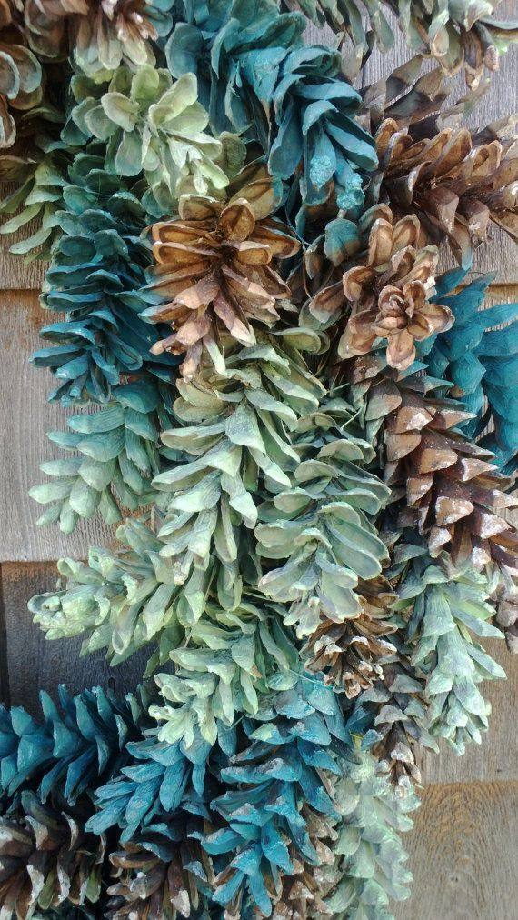 Pinecone Wreath - Natural Brown, Ocean Greens- Customize your colors