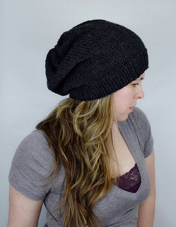 Slouchy Beanie Hat Black / Charcoal Baggy Hat Hipster by jfaze