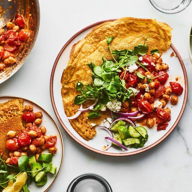 Chickpea Flatbreads With Burst Tomato Sauce Recipe Vegetarian Dinner Party Vegetarian Dinner Vegetarian Recipes Dinner