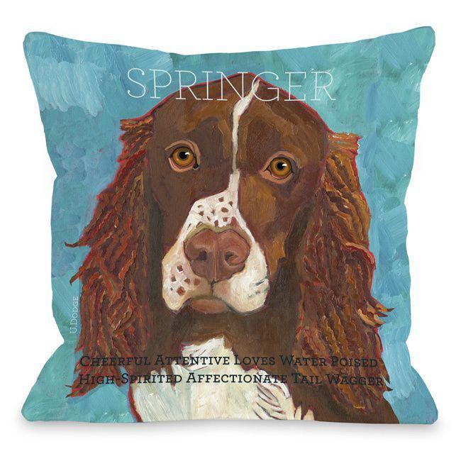 Springer Dog Themed Throw Pillow