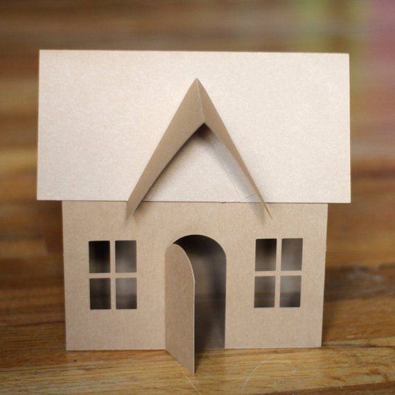 Svg File 3d Paper House For Christmas Village Luminary Or Etsy 3d Paper Houses Cardboard Gingerbread House Gingerbread House Template
