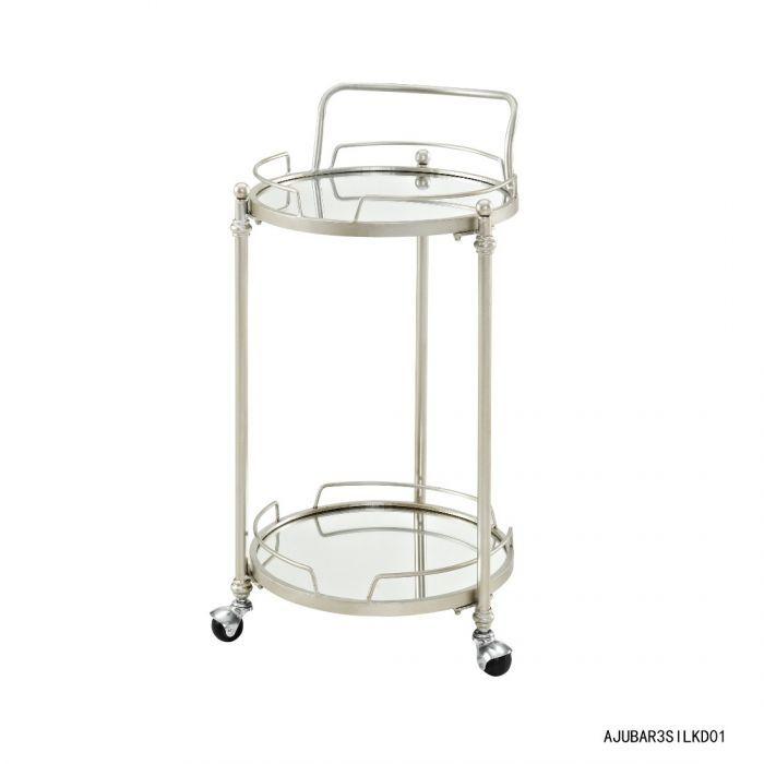 Round Silver Mirror Bar Cart Linon