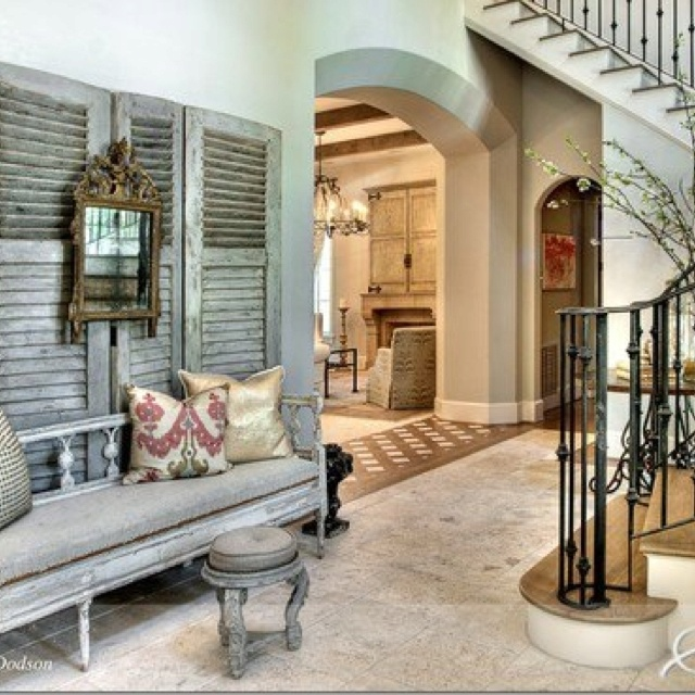 shutter wall  Designer Trisha Dodson, Segreto Finishes  via Cote de Texas