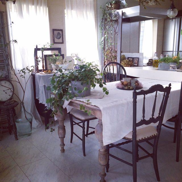 miiさんの、ハンドメイド,エイジング加工,木工部,DIY,シャンデリア♡,アンティーク,ブログしてます♡,アンティーク風,キッチン,のお部屋写真