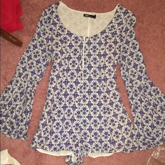 Shop Hope's Star of the Show Romper 3/4 sleeve romper with split sleeves and adjustable corset back. Hidden zipper up the front! Worn once I:NA Dresses